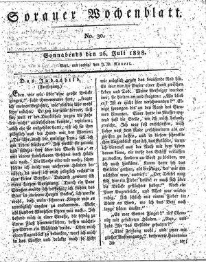 Sorauer Wochenblatt für Unterhaltung, Belehrung und Ereignisse der Gegenwart vom 26.07.1828