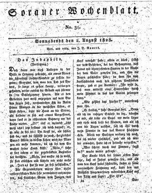 Sorauer Wochenblatt für Unterhaltung, Belehrung und Ereignisse der Gegenwart vom 02.08.1828