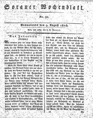 Sorauer Wochenblatt für Unterhaltung, Belehrung und Ereignisse der Gegenwart vom 09.08.1828