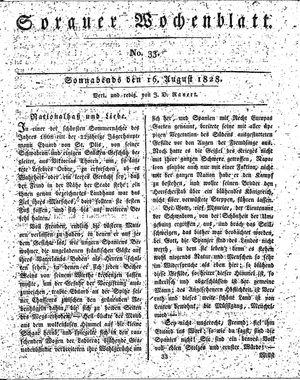 Sorauer Wochenblatt für Unterhaltung, Belehrung und Ereignisse der Gegenwart vom 16.08.1828