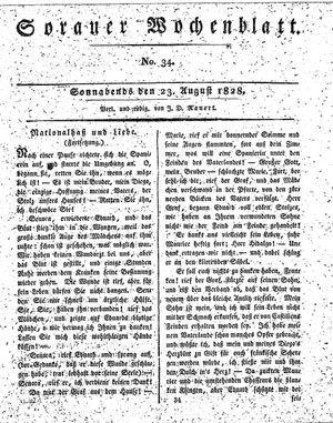 Sorauer Wochenblatt für Unterhaltung, Belehrung und Ereignisse der Gegenwart vom 23.08.1828