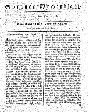 Sorauer Wochenblatt für Unterhaltung, Belehrung und Ereignisse der Gegenwart vom 06.09.1828