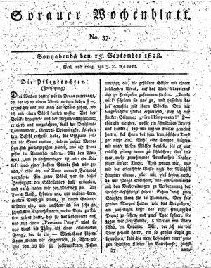 Sorauer Wochenblatt für Unterhaltung, Belehrung und Ereignisse der Gegenwart vom 13.09.1828