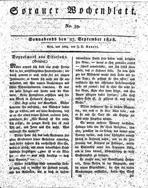 Sorauer Wochenblatt für Unterhaltung, Belehrung und Ereignisse der Gegenwart vom 27.09.1828