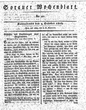 Sorauer Wochenblatt für Unterhaltung, Belehrung und Ereignisse der Gegenwart vom 04.10.1828