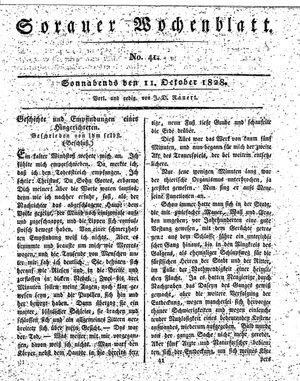 Sorauer Wochenblatt für Unterhaltung, Belehrung und Ereignisse der Gegenwart vom 11.10.1828