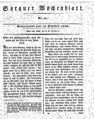 Sorauer Wochenblatt für Unterhaltung, Belehrung und Ereignisse der Gegenwart vom 18.10.1828