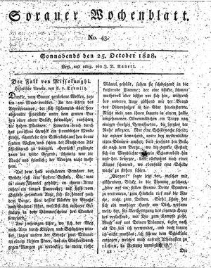 Sorauer Wochenblatt für Unterhaltung, Belehrung und Ereignisse der Gegenwart vom 25.10.1828