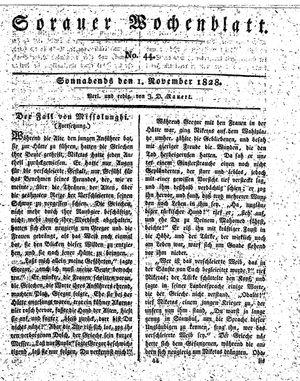 Sorauer Wochenblatt für Unterhaltung, Belehrung und Ereignisse der Gegenwart vom 01.11.1828
