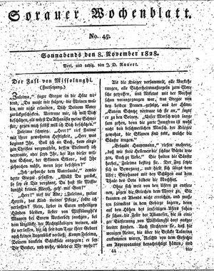 Sorauer Wochenblatt für Unterhaltung, Belehrung und Ereignisse der Gegenwart vom 08.11.1828
