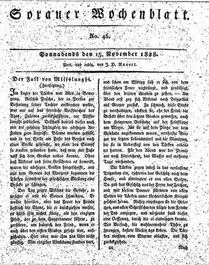 Sorauer Wochenblatt für Unterhaltung, Belehrung und Ereignisse der Gegenwart vom 15.11.1828