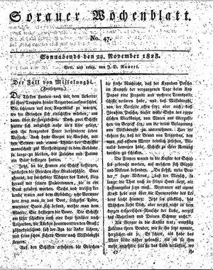 Sorauer Wochenblatt für Unterhaltung, Belehrung und Ereignisse der Gegenwart vom 22.11.1828
