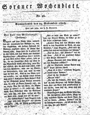 Sorauer Wochenblatt für Unterhaltung, Belehrung und Ereignisse der Gegenwart vom 29.11.1828