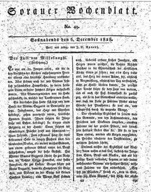 Sorauer Wochenblatt für Unterhaltung, Belehrung und Ereignisse der Gegenwart vom 06.12.1828