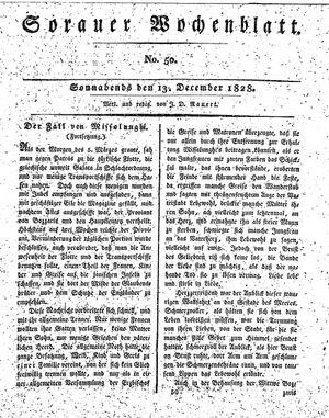 Sorauer Wochenblatt für Unterhaltung, Belehrung und Ereignisse der Gegenwart vom 13.12.1828