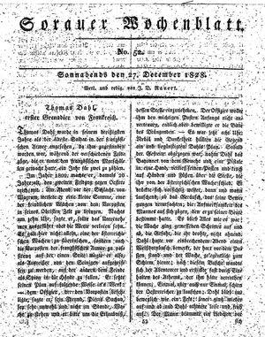 Sorauer Wochenblatt für Unterhaltung, Belehrung und Ereignisse der Gegenwart vom 27.12.1828