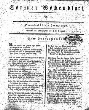 Sorauer Wochenblatt für Unterhaltung, Belehrung und Ereignisse der Gegenwart vom 02.01.1830