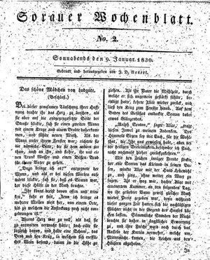 Sorauer Wochenblatt für Unterhaltung, Belehrung und Ereignisse der Gegenwart vom 09.01.1830