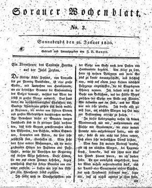 Sorauer Wochenblatt für Unterhaltung, Belehrung und Ereignisse der Gegenwart vom 16.01.1830
