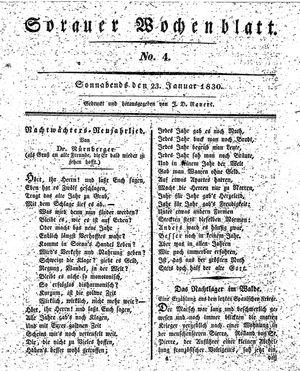 Sorauer Wochenblatt für Unterhaltung, Belehrung und Ereignisse der Gegenwart vom 23.01.1830