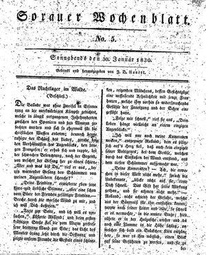 Sorauer Wochenblatt für Unterhaltung, Belehrung und Ereignisse der Gegenwart vom 30.01.1830