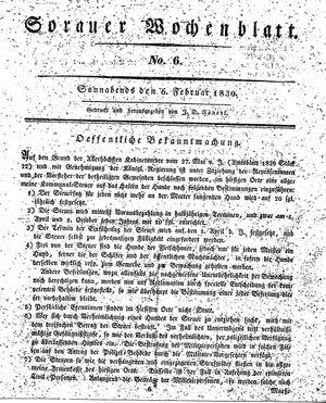 Sorauer Wochenblatt für Unterhaltung, Belehrung und Ereignisse der Gegenwart vom 06.02.1830
