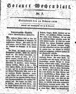 Sorauer Wochenblatt für Unterhaltung, Belehrung und Ereignisse der Gegenwart vom 13.02.1830