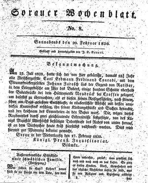Sorauer Wochenblatt für Unterhaltung, Belehrung und Ereignisse der Gegenwart vom 20.02.1830