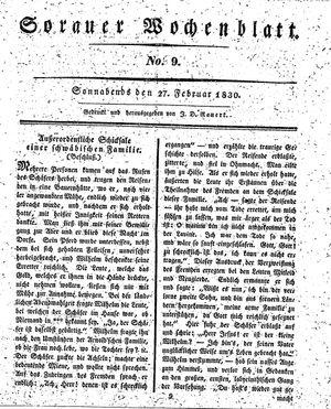 Sorauer Wochenblatt für Unterhaltung, Belehrung und Ereignisse der Gegenwart vom 27.02.1830