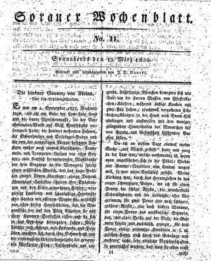 Sorauer Wochenblatt für Unterhaltung, Belehrung und Ereignisse der Gegenwart vom 13.03.1830