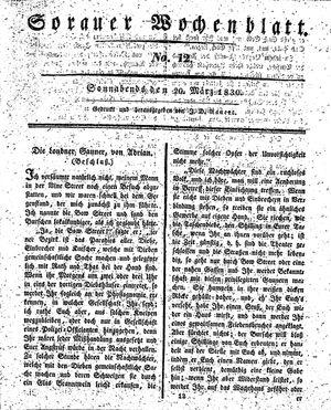 Sorauer Wochenblatt für Unterhaltung, Belehrung und Ereignisse der Gegenwart vom 20.03.1830