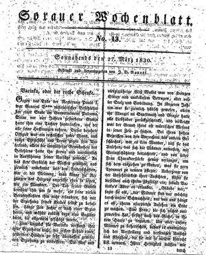 Sorauer Wochenblatt für Unterhaltung, Belehrung und Ereignisse der Gegenwart vom 27.03.1830
