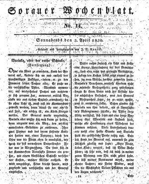 Sorauer Wochenblatt für Unterhaltung, Belehrung und Ereignisse der Gegenwart vom 03.04.1830