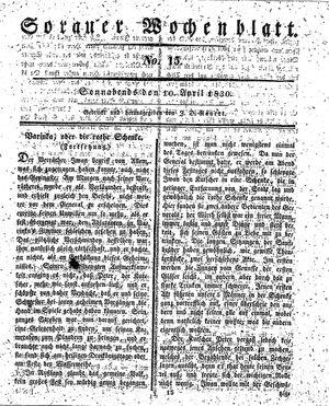 Sorauer Wochenblatt für Unterhaltung, Belehrung und Ereignisse der Gegenwart vom 10.04.1830