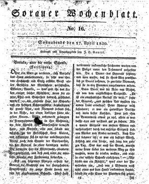 Sorauer Wochenblatt für Unterhaltung, Belehrung und Ereignisse der Gegenwart vom 17.04.1830