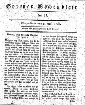 Sorauer Wochenblatt für Unterhaltung, Belehrung und Ereignisse der Gegenwart vom 24.04.1830