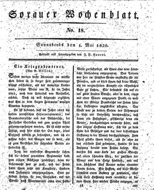 Sorauer Wochenblatt für Unterhaltung, Belehrung und Ereignisse der Gegenwart vom 01.05.1830