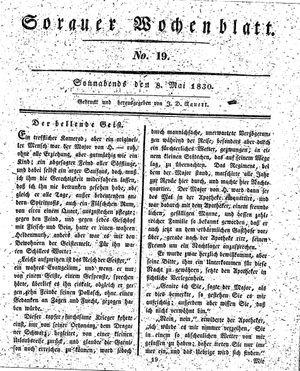 Sorauer Wochenblatt für Unterhaltung, Belehrung und Ereignisse der Gegenwart vom 08.05.1830