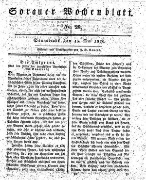Sorauer Wochenblatt für Unterhaltung, Belehrung und Ereignisse der Gegenwart vom 15.05.1830