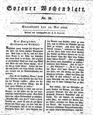 Sorauer Wochenblatt für Unterhaltung, Belehrung und Ereignisse der Gegenwart vom 22.05.1830