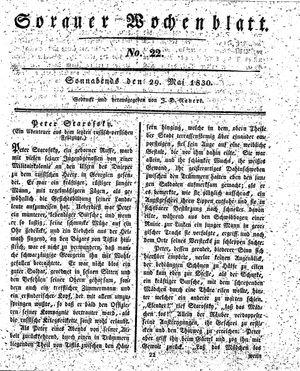 Sorauer Wochenblatt für Unterhaltung, Belehrung und Ereignisse der Gegenwart vom 29.05.1830