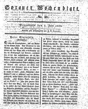 Sorauer Wochenblatt für Unterhaltung, Belehrung und Ereignisse der Gegenwart vom 05.06.1830