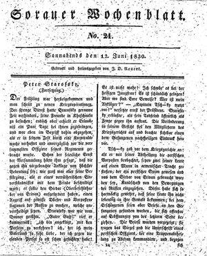 Sorauer Wochenblatt für Unterhaltung, Belehrung und Ereignisse der Gegenwart on Jun 12, 1830