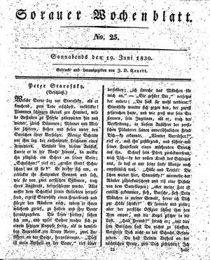 Sorauer Wochenblatt für Unterhaltung, Belehrung und Ereignisse der Gegenwart vom 19.06.1830