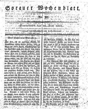Sorauer Wochenblatt für Unterhaltung, Belehrung und Ereignisse der Gegenwart vom 26.06.1830