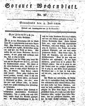 Sorauer Wochenblatt für Unterhaltung, Belehrung und Ereignisse der Gegenwart vom 03.07.1830