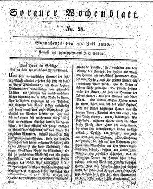 Sorauer Wochenblatt für Unterhaltung, Belehrung und Ereignisse der Gegenwart vom 10.07.1830