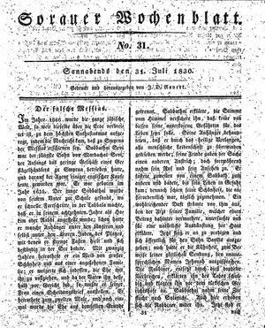 Sorauer Wochenblatt für Unterhaltung, Belehrung und Ereignisse der Gegenwart vom 31.07.1830
