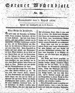 Sorauer Wochenblatt für Unterhaltung, Belehrung und Ereignisse der Gegenwart vom 07.08.1830