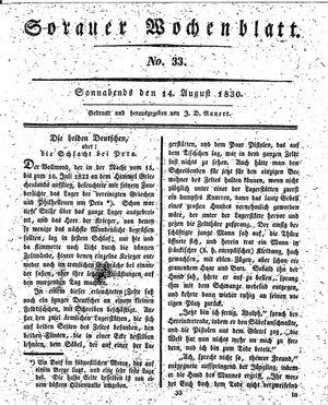 Sorauer Wochenblatt für Unterhaltung, Belehrung und Ereignisse der Gegenwart vom 14.08.1830